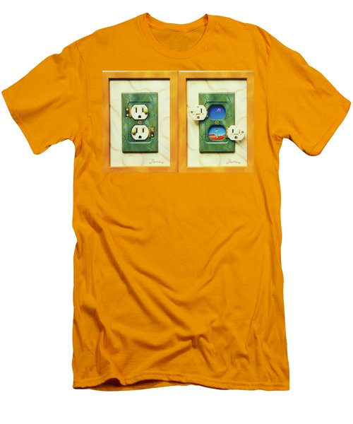 Electric View Miniature Shown Closed And Open Men's T-Shirt (Athletic Fit)