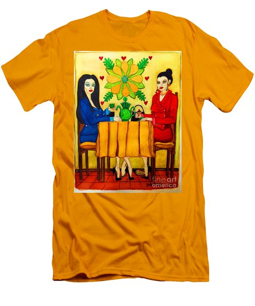 Men's T-Shirt (Slim Fit) featuring the painting Elegant Ladies In A Coffee-shop by Don Pedro De Gracia
