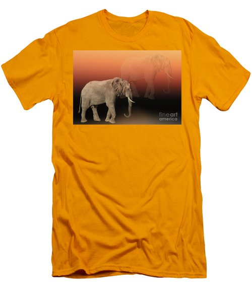 Men's T-Shirt (Slim Fit) featuring the photograph Elephant Dreams by Myrna Bradshaw