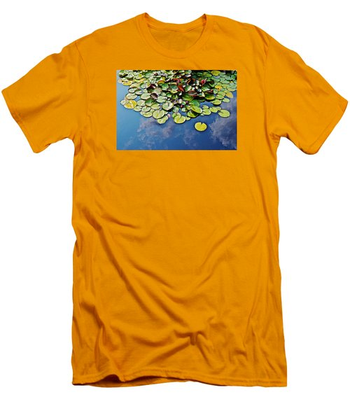 End Of July Water Lilies In The Clouds Men's T-Shirt (Slim Fit) by Janis Nussbaum Senungetuk