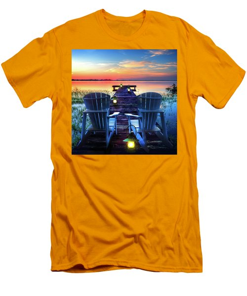 Men's T-Shirt (Slim Fit) featuring the photograph Evening Romance by Debra and Dave Vanderlaan