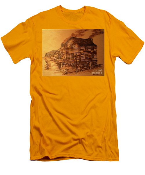 Men's T-Shirt (Athletic Fit) featuring the pyrography Farmhouse by Denise Tomasura
