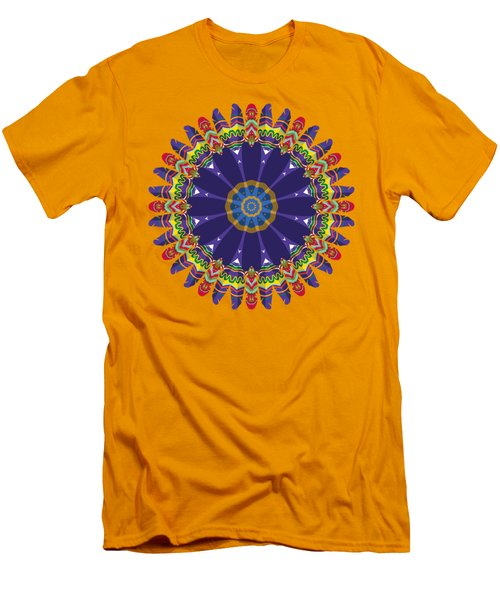 Men's T-Shirt (Slim Fit) featuring the digital art Feathers In The Round by Mary Machare