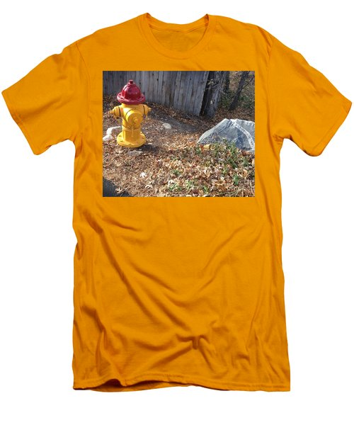 Men's T-Shirt (Slim Fit) featuring the photograph Fire Hydrant Checking Its Facerock by Richard W Linford