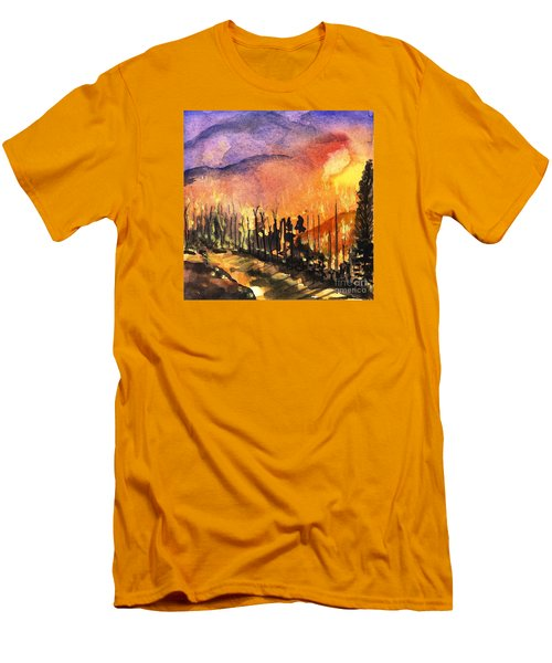 Fires In Our Mountains Tonight Men's T-Shirt (Slim Fit) by Randy Sprout