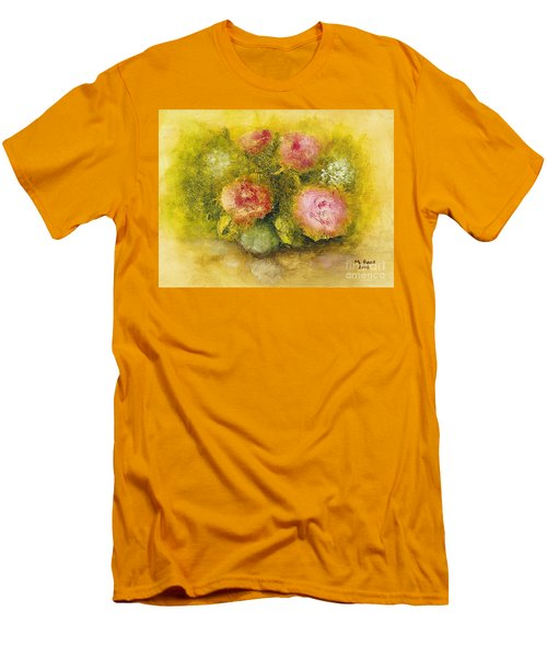 Flowers Pink Men's T-Shirt (Slim Fit) by Marlene Book
