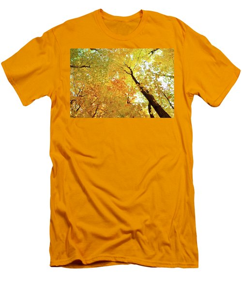 Forest Fall Yellow  Men's T-Shirt (Slim Fit) by Lyle Crump