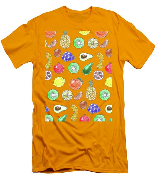 Fruit Pattern  Men's T-Shirt (Slim Fit) by Katerina Kirilova