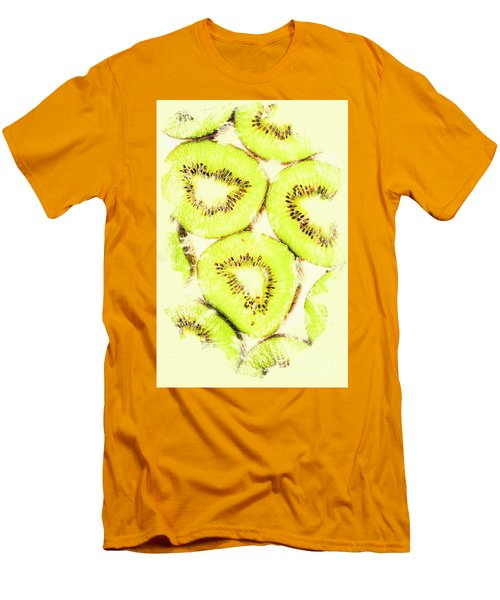 Full Frame Shot Of Fresh Kiwi Slices With Seeds Men's T-Shirt (Slim Fit) by Jorgo Photography - Wall Art Gallery