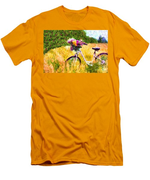 Garden Bicycle Print Men's T-Shirt (Slim Fit) by Tina LeCour