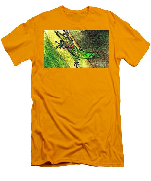 Gecko On The Green Men's T-Shirt (Athletic Fit)