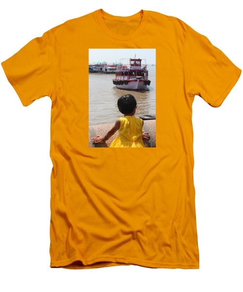 Girl In Yellow Dress W/leaf In Hair Looking At Boats Men's T-Shirt (Athletic Fit)