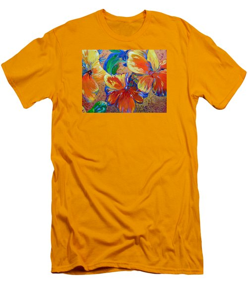 Golden Boiled Flowers Men's T-Shirt (Athletic Fit)