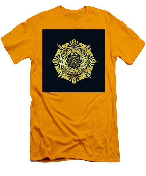 Men's T-Shirt (Slim Fit) featuring the drawing Golden Geometry by Deborah Smith
