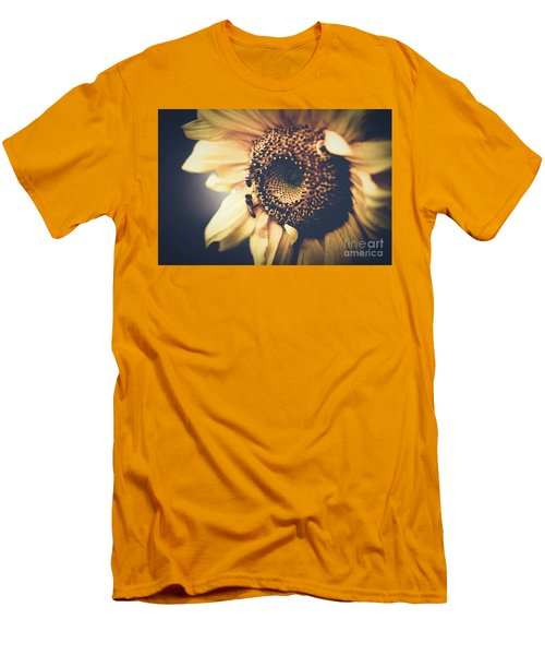 Men's T-Shirt (Slim Fit) featuring the photograph Golden Honey Bees And Sunflower by Sharon Mau