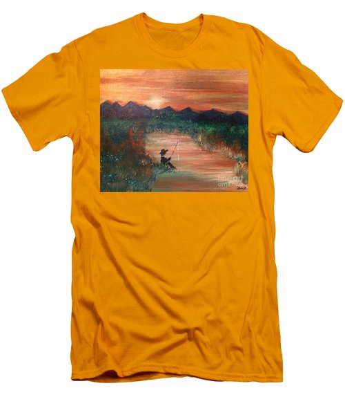 Men's T-Shirt (Athletic Fit) featuring the painting Golden Sunset by Denise Tomasura