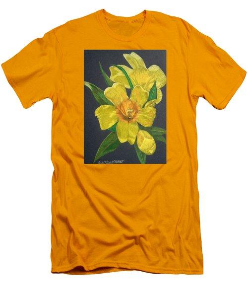 Golden Trumpet Flower - Allamanda Vine Men's T-Shirt (Slim Fit) by Anita Putman