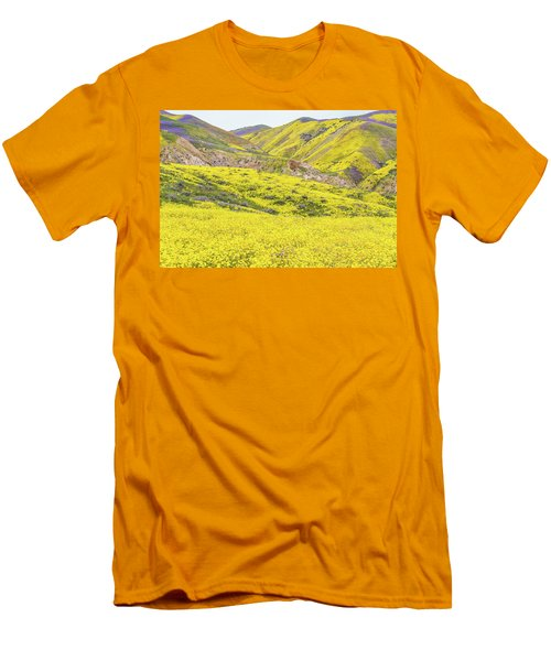 Men's T-Shirt (Slim Fit) featuring the photograph Goldfields And Temblor Hills by Marc Crumpler
