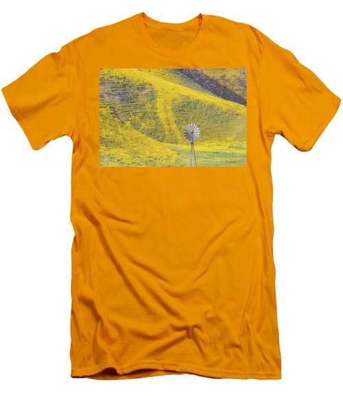 Goldfields And Windmill At Carrizo Plain  Men's T-Shirt (Slim Fit) by Marc Crumpler