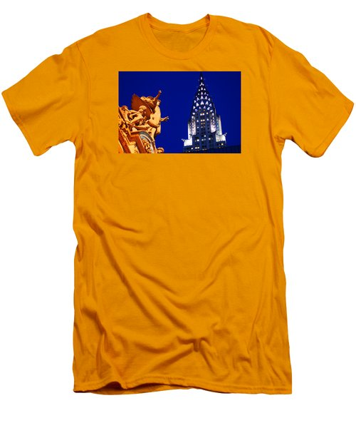 Grand Central Station And Chrysler Building Men's T-Shirt (Slim Fit) by James Kirkikis