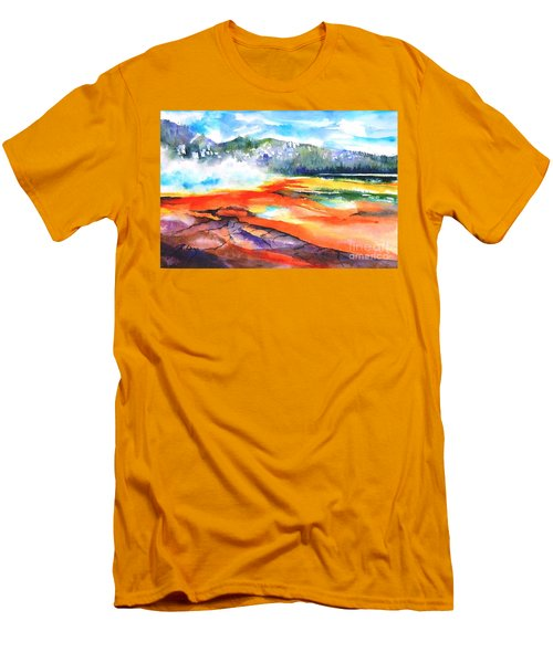 Grand Prismatic Hot Spring Men's T-Shirt (Slim Fit) by Betty M M Wong