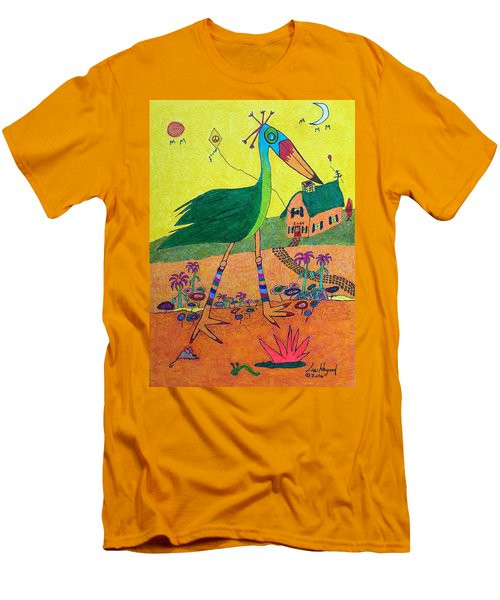 Green Crane With Leggings And Painted Toes Men's T-Shirt (Athletic Fit)