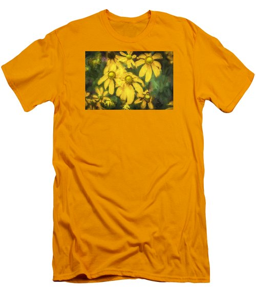 Green Headed Coneflowers Painted Men's T-Shirt (Slim Fit) by Rich Franco