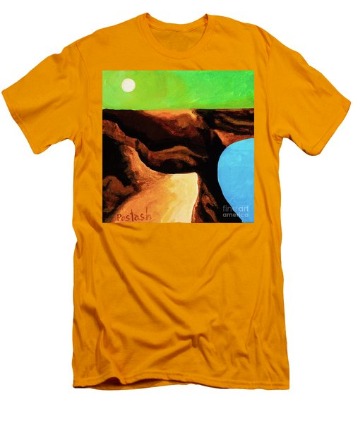 Men's T-Shirt (Slim Fit) featuring the painting Green Skies by Igor Postash