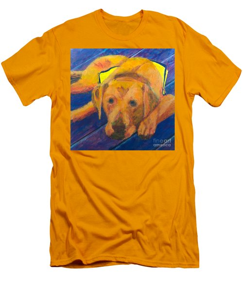 Men's T-Shirt (Slim Fit) featuring the painting Growing Puppy by Donald J Ryker III