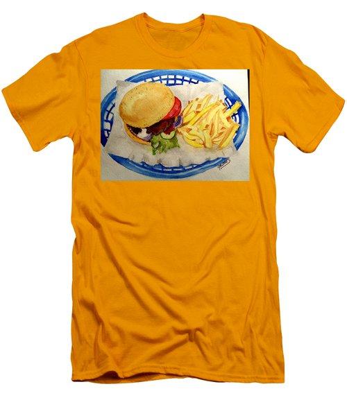 Hamburger Basket #2 Men's T-Shirt (Slim Fit) by Carol Grimes