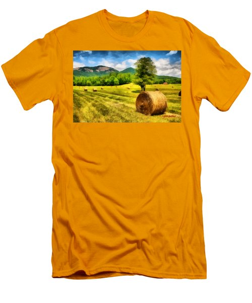 Men's T-Shirt (Slim Fit) featuring the painting Harvest At Table Rock by Lynne Jenkins