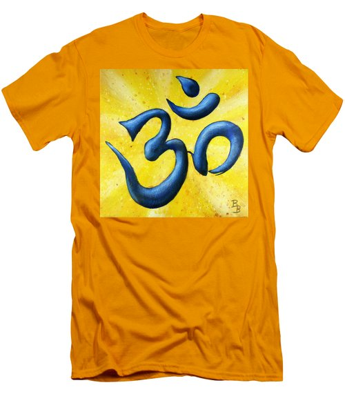 Men's T-Shirt (Athletic Fit) featuring the painting Hindu Om Symbol Art by Bob Baker