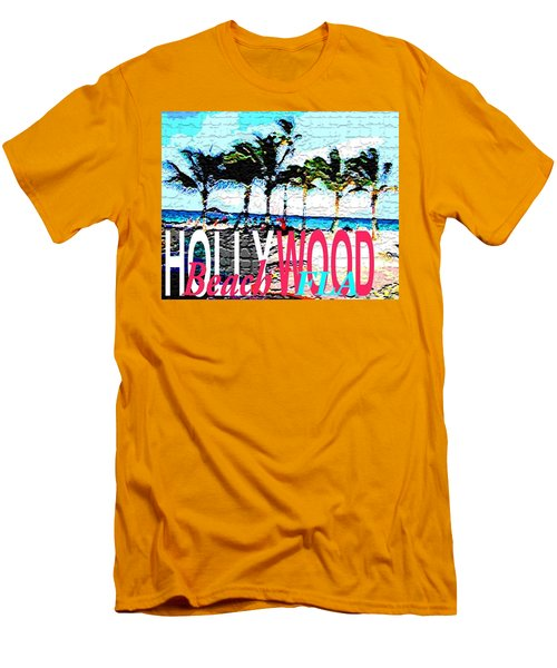 Hollywood Beach Fla Poster Men's T-Shirt (Slim Fit) by Dick Sauer