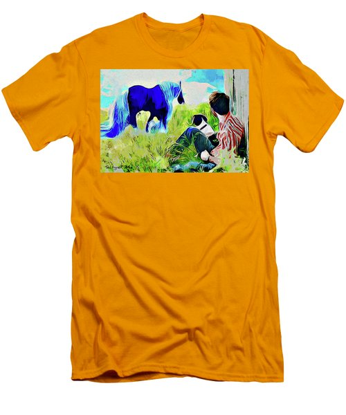 Men's T-Shirt (Slim Fit) featuring the painting Horse Whisperer by Ted Azriel