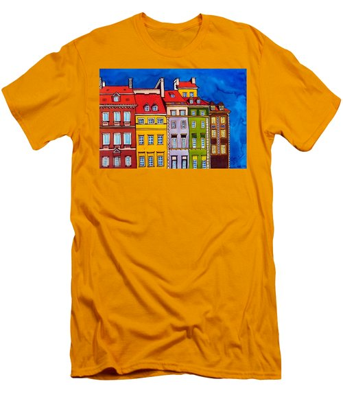 Houses In The Oldtown Of Warsaw Men's T-Shirt (Slim Fit) by Dora Hathazi Mendes