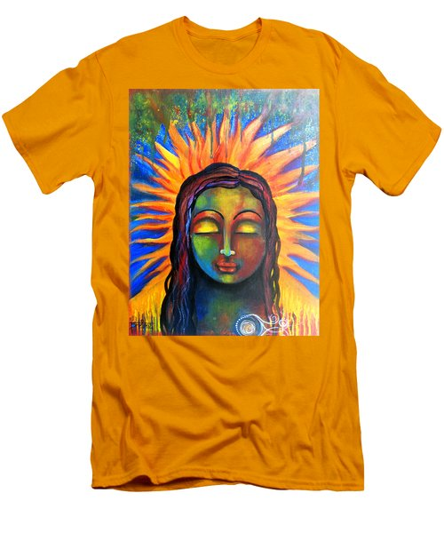 Men's T-Shirt (Slim Fit) featuring the mixed media Illuminated By Her Own Radiant Self by Prerna Poojara