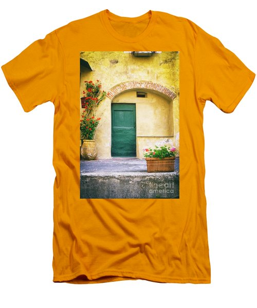 Men's T-Shirt (Athletic Fit) featuring the photograph Italian Facade With Geraniums by Silvia Ganora