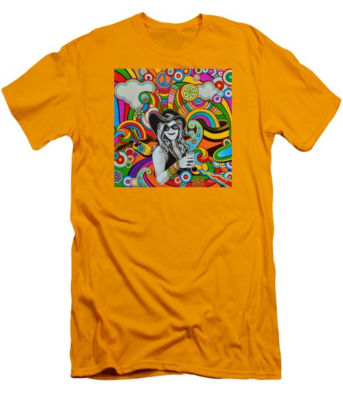 Men's T-Shirt (Slim Fit) featuring the painting Janis In Wonderland by Joseph Sonday