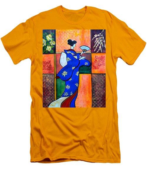 Japan Geisha Kimono Colorful Decorative Painting Ethnic Gift Decor Men's T-Shirt (Athletic Fit)
