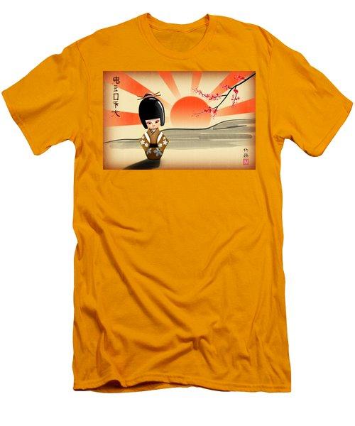 Men's T-Shirt (Slim Fit) featuring the digital art Japanese Kokeshi Doll by John Wills