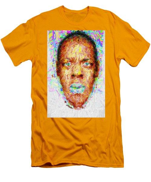 Jay Z Painted Digitally 2 Men's T-Shirt (Slim Fit) by David Haskett
