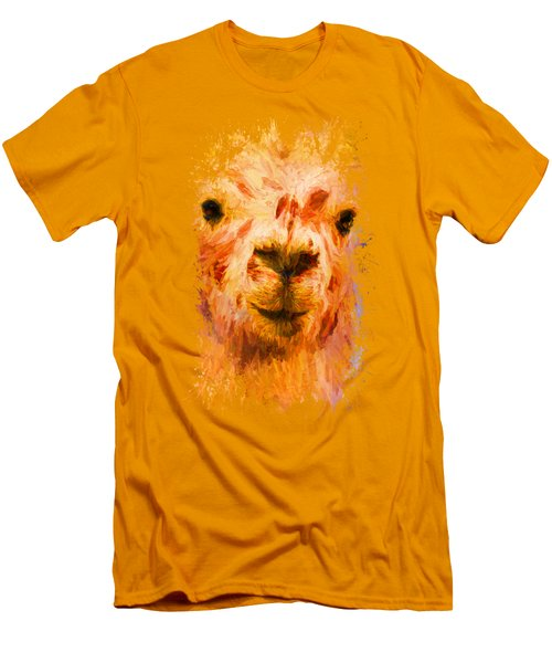 Jazzy Llama Colorful Animal Art By Jai Johnson Men's T-Shirt (Slim Fit) by Jai Johnson