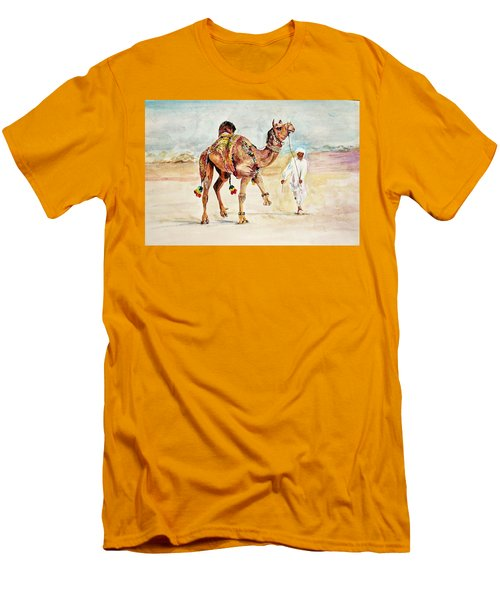 Jewellery And Trappings On Camel. Men's T-Shirt (Slim Fit) by Khalid Saeed