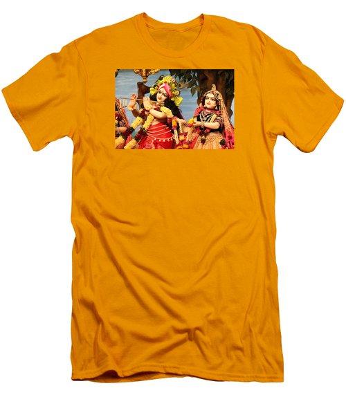 Krishna And Radha At Radha Gopinath Mandir, Mumbai Men's T-Shirt (Slim Fit) by Jennifer Mazzucco