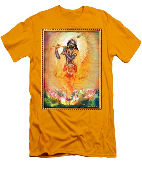 Krishna With The Flute Men's T-Shirt (Slim Fit) by Ananda Vdovic