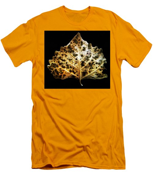 Men's T-Shirt (Slim Fit) featuring the photograph Leaf With Green Spots by Joseph Frank Baraba