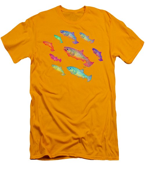 Leaping Salmon Design Men's T-Shirt (Slim Fit) by Teresa Ascone