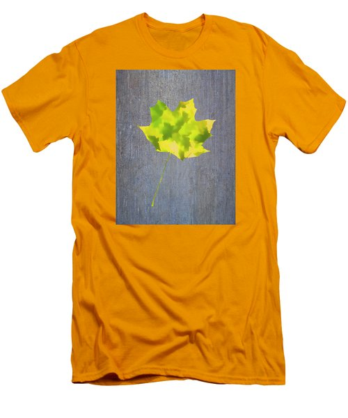 Men's T-Shirt (Slim Fit) featuring the photograph Leaves Through Maple Leaf On Texture 2 by Gary Slawsky