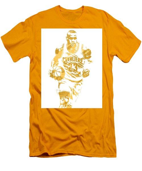 Lebron James Cleveland Cavaliers Pixel Art 7 Men's T-Shirt (Slim Fit) by Joe Hamilton