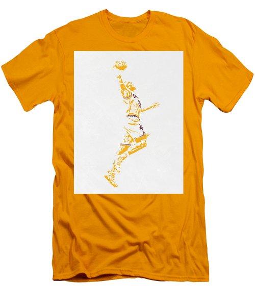 Lebron James Cleveland Cavaliers Pixel Art Men's T-Shirt (Slim Fit) by Joe Hamilton